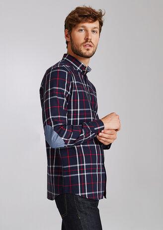 Chemise à carreaux coupe droite à coudières