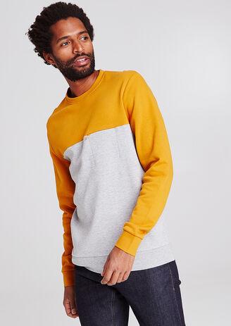 Tweekleurige sweater met zak