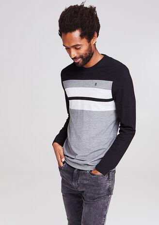 Colorblock T-shirt in verschillende stoffen