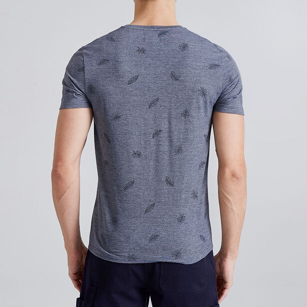 T-shirt in fantasiestof met micro-bladprint