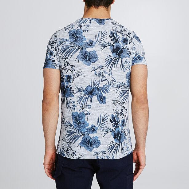 T-shirt in gemêleerde stof met all-over bloemenpr