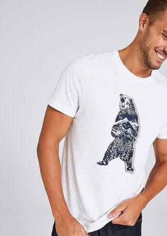 T-shirt in fantasiestof met berenprint