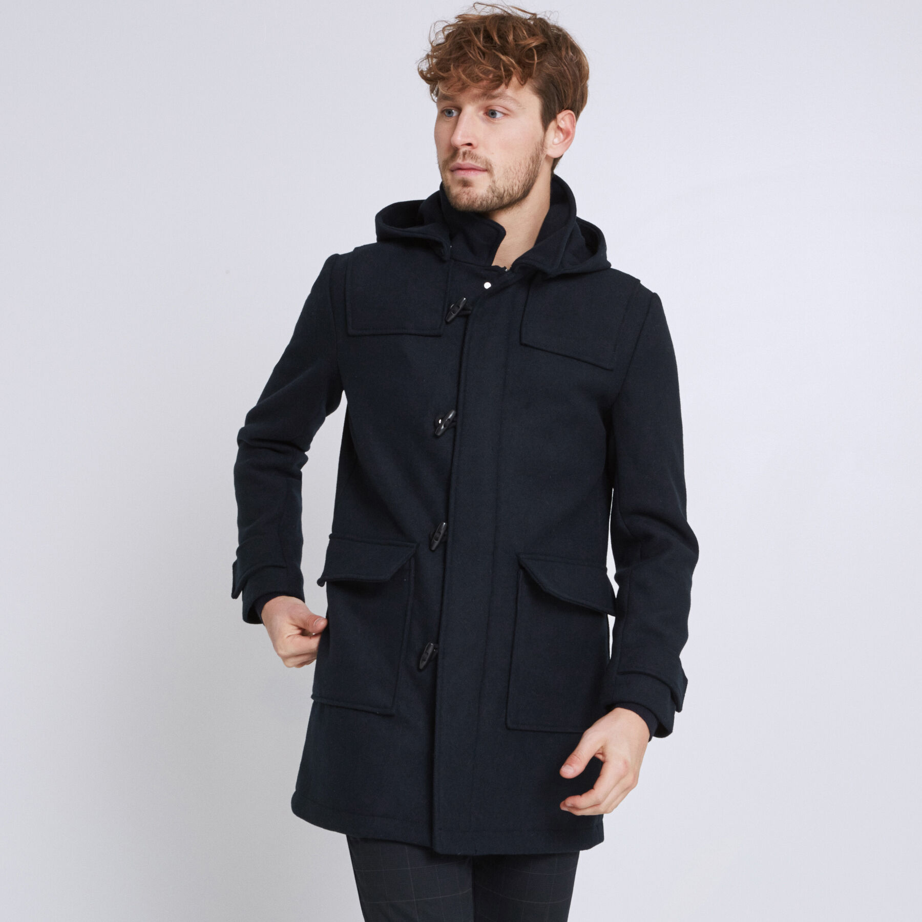 duffle coat capuche amovible bleu marine homme jules. Black Bedroom Furniture Sets. Home Design Ideas