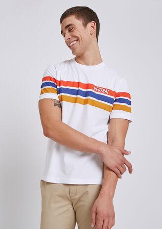 T-shirt rainbow colorblock met opdruk 'Neutral'