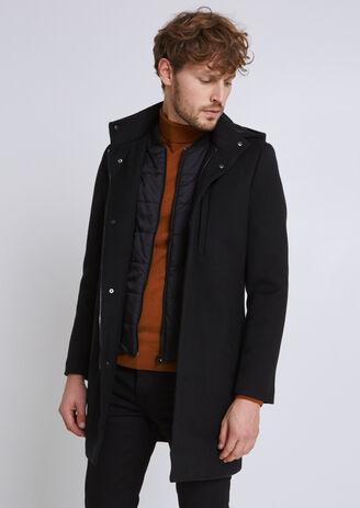 Manteau lainage capuche et parmenture amovible