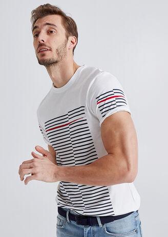T-shirt met asynchrone strepen