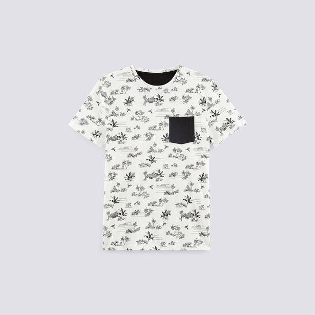 T-shirt met all-over palmboomprint en contrasteren