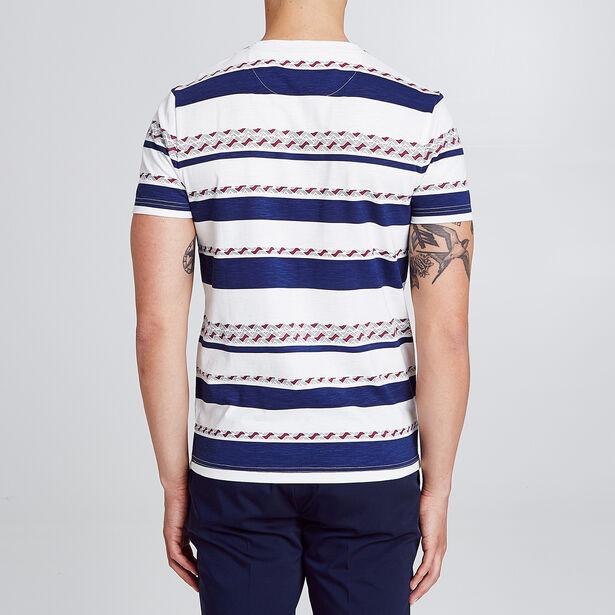 T-shirt esprit marinière ethnique avec poche poitr
