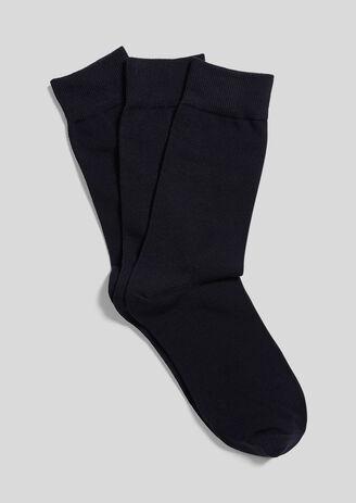 Chaussettes en coton bio par lot de 3 Bleu Homme