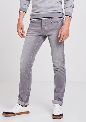 Jean Straight 4L délavé gris