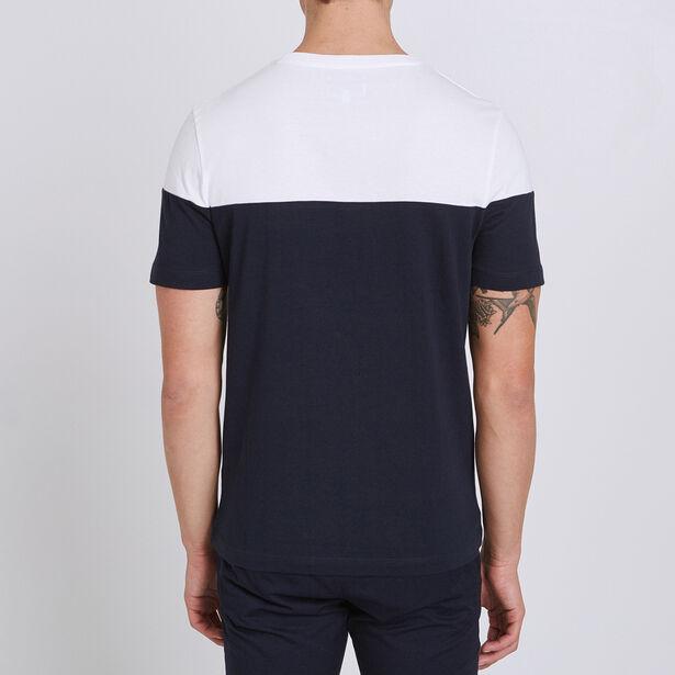 Tee shirt colorblock à poche imprimée