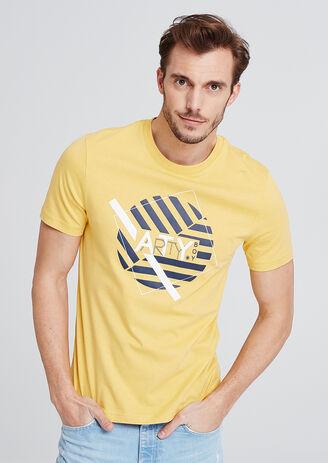 T-shirt met ronde hals, ronde grafische opdruk 'ar