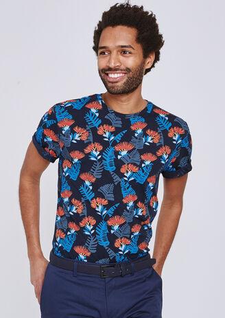 T-shirt met all-over bladprint