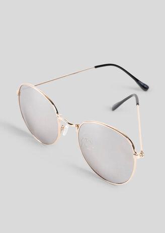 Ronde goudkleurige zonnebril