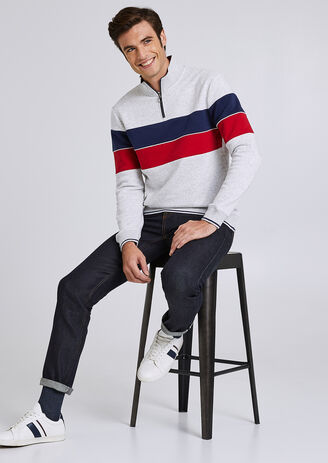 Sweat col montant colorblock finition bord côte