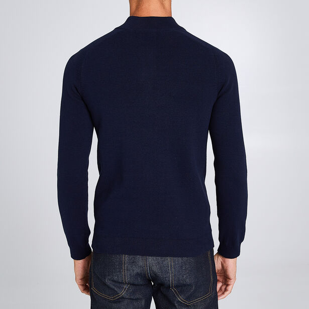 Pull col montant boutonné maille fine