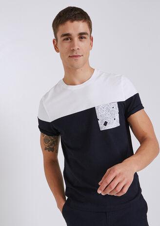 T-shirt colorblock met print op de zak