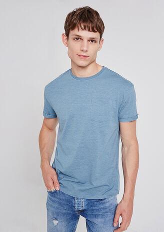 Tee shirt col rond uni à poche