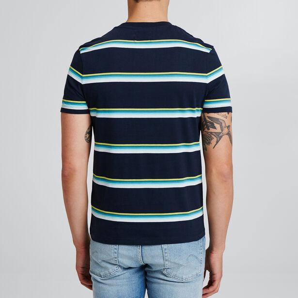 Tee shirt à rayures en dégradé de couleurs et brod