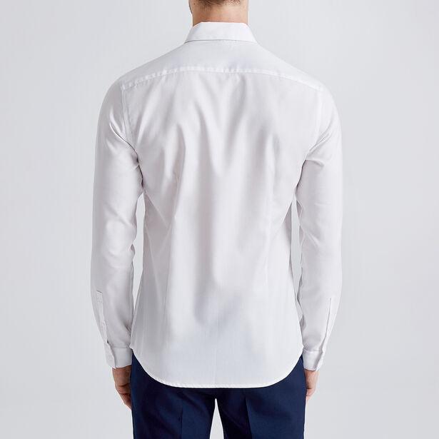 Hemd in geweven katoen slim, onnodig te strijken