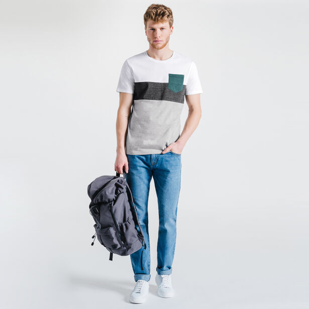 Tee-shirt gris anthracite col rond color block
