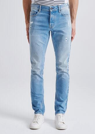 Slim jeans, gewassen, destroys
