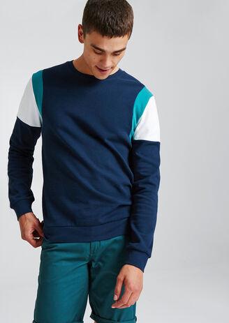 Sweater met ronde hals, colorblock op de mouw