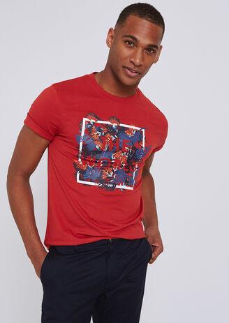 T-shirt met opdruk in kader 'The world'