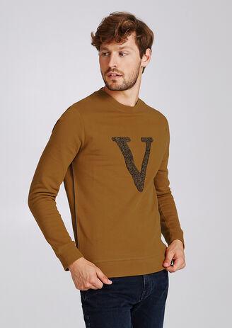 Sweater met patch en bouclé-steek