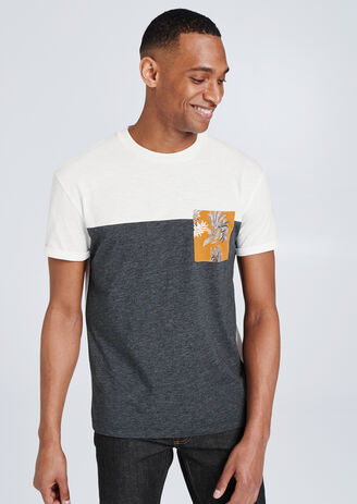 Colorblock T-shirt in fantasiestof, borstzak met p