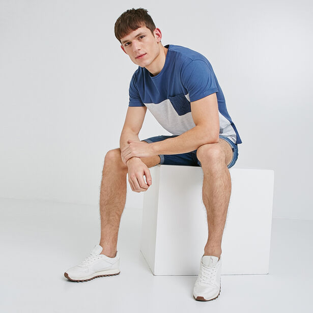 tee shirt bloc + poche feuillage