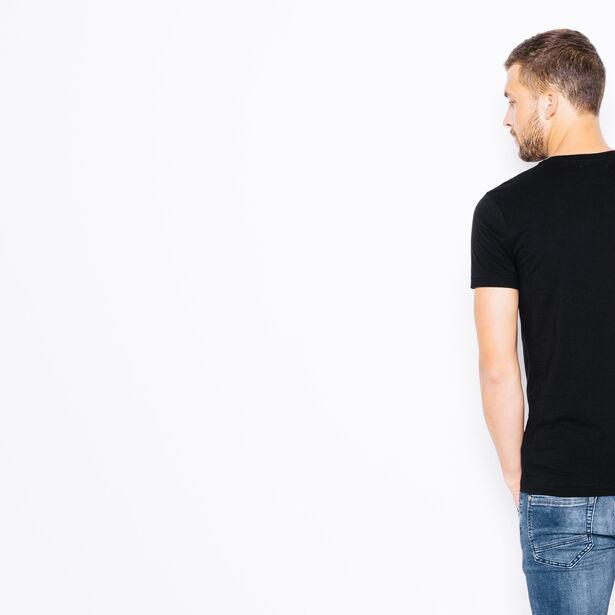 T-shirt col rond poche faux cuir