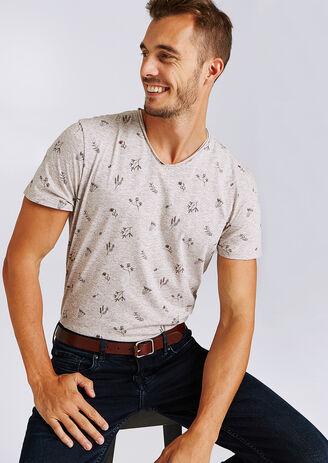 Tee shirt col V imprimé fleuri