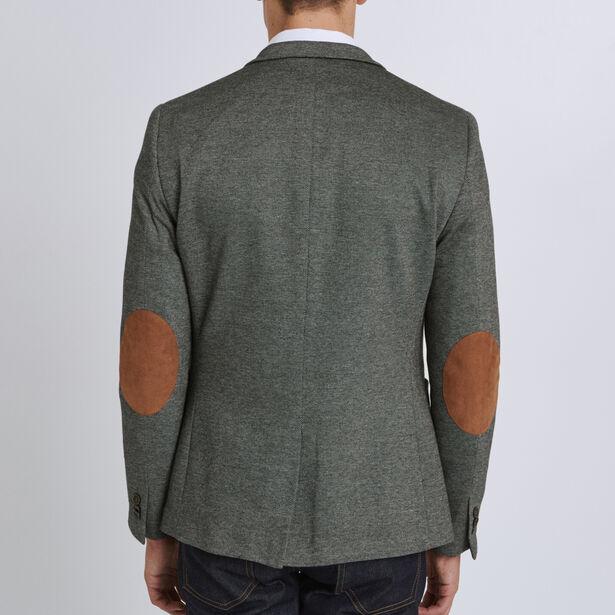 Vest in tricot met contrasterende elleboogstukken