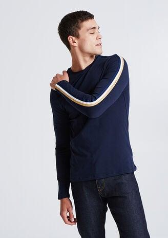T-shirt met lange mouw en banden op de mouw