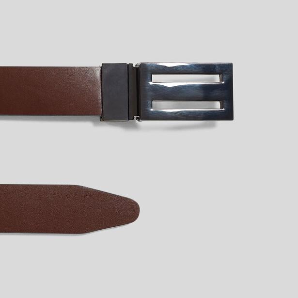 Cintura con fibbia a piastra in pelle liscia rever