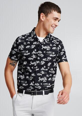 Regular hemd met print, korte mouw