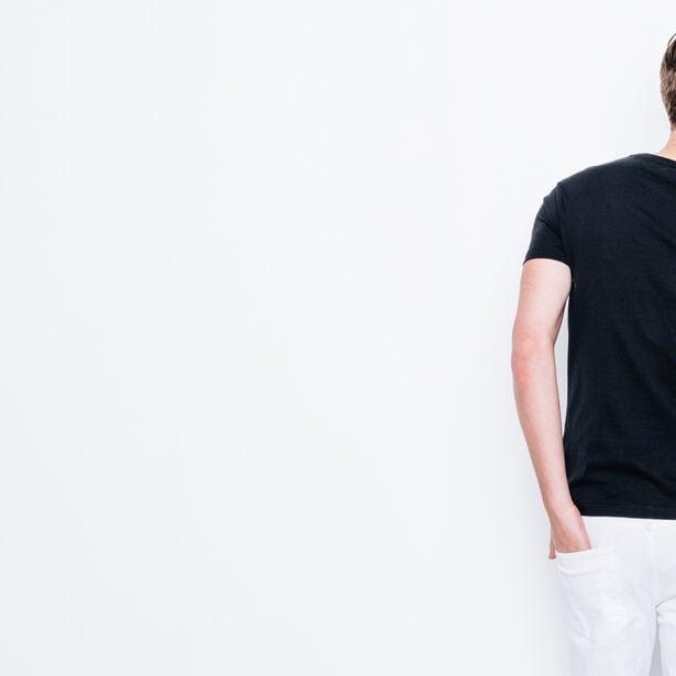 T-shirt col rond imprimé, coupe slim