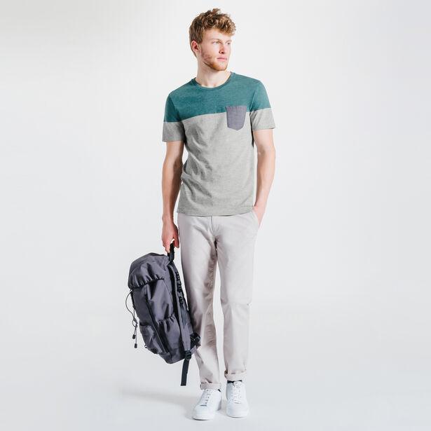 Tee-shirt vert menthe foncé col rond color block