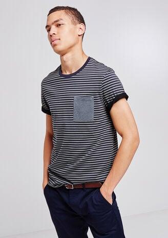 T-shirt ronde hals, gestreept