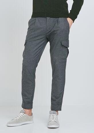 Pantalone Battle in tessuto aspetto lana