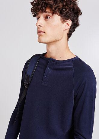 Effen T-shirt met knooplijst