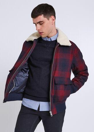Blouson drap de laine à carreaux