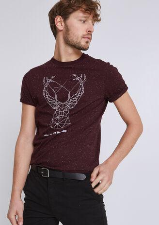 Tee shirt col rond imprimé cerf