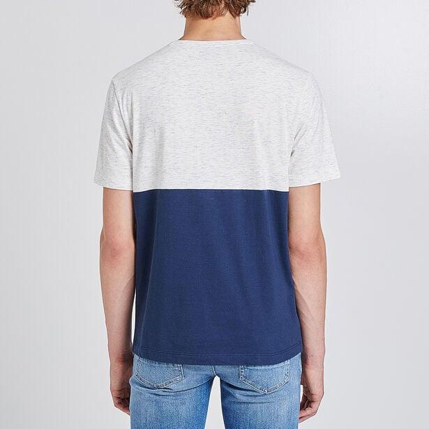 T-shirt met ronde hals, gestreept en colorblock, m