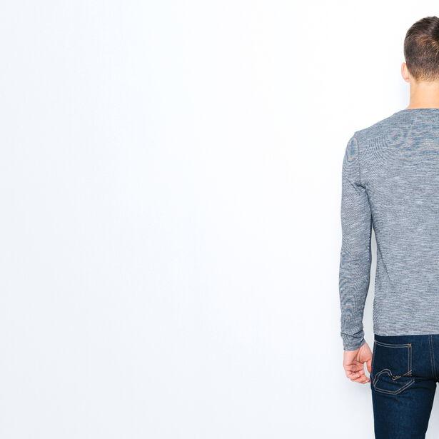 T-shirt col tunisien poche chambray