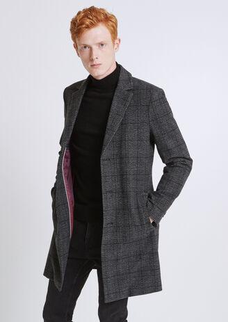 Manteau lainage carreau brouillé