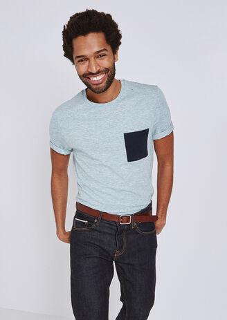 T-shirt in fantasiestof met contrasterende stof