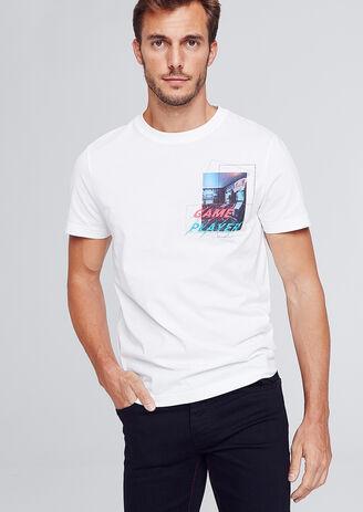 Tee-shirt avec print poitrine néon game player