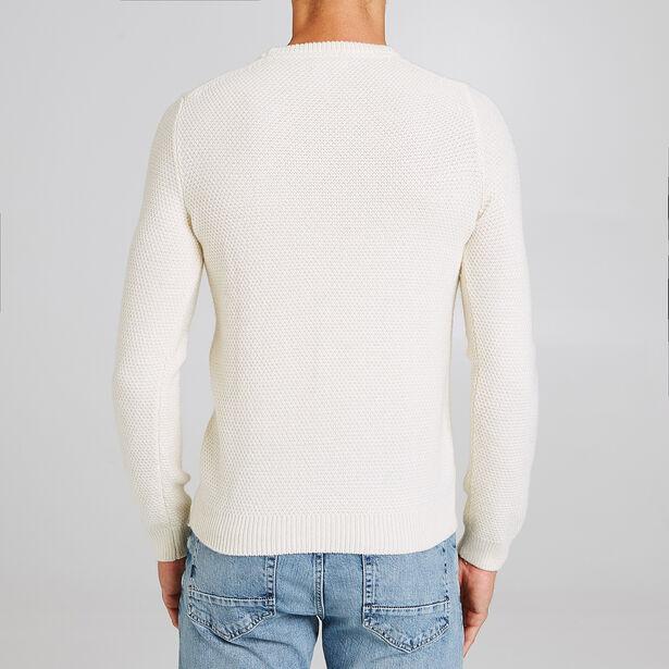 Pull col rond uni maille tricot torsadée